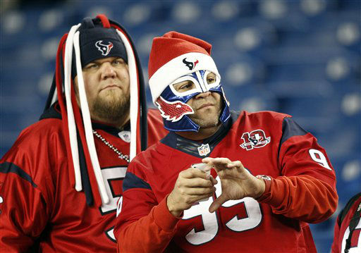 "<div class=""meta ""><span class=""caption-text "">Houston Texans fans watch warm-ups before an  NFL football game between the New England Patriots and the Texans in Foxborough, Mass., Monday, Dec. 10, 2012. (AP Photo/Stephan Savoia) (AP Photo/ Stephan Savoia)</span></div>"