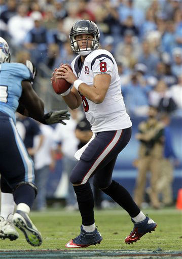 Houston Texans quarterback Matt Schaub passes against the Tennessee Titans in the first quarter of an NFL football game on Sunday, Dec. 2, 2012, in Nashville, Tenn. (AP Photo/Wade Payne)