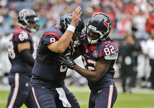 "<div class=""meta ""><span class=""caption-text "">Houston Texans Matt Schaub (8) and Keshawn Martin (82) celebrate a touchdown against the Jacksonville Jaguars during the first quarter of an NFL football game Sunday, Nov. 18, 2012, in Houston.  (AP Photo/ Dave Einsel)</span></div>"