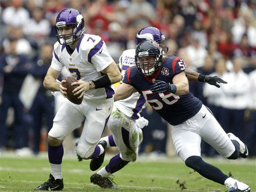Minnesota Vikings quarterback Christian Ponder &#40;7&#41; is sacked by Houston Texans linebacker Brooks Reed &#40;58&#41; during the first quarter of an NFL football game on Sunday, Dec. 23, 2012, in Houston. &#40;AP Photo&#47;Patric Schneider&#41; <span class=meta>(AP Photo&#47; Patric Schneider)</span>