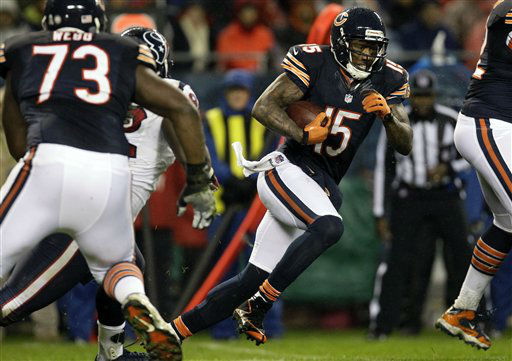 Chicago Bears wide receiver Brandon Marshall &#40;15&#41; runs after a reception against the Houston Texans during the first half an NFL football game, Sunday, Nov. 11, 2012, in Chicago. &#40;AP Photo&#47;Nam Y. Huh&#41; <span class=meta>(AP Photo&#47; Nam Y. Huh)</span>