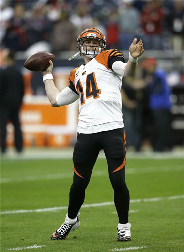 Cincinnati Bengals quarterback Andy Dalton &#40;14&#41; warms up before an NFL wild card playoff football game Saturday, Jan. 5, 2013, in Houston. &#40;AP Photo&#47;Eric Gay&#41; <span class=meta>(AP Photo&#47; Eric Gay)</span>