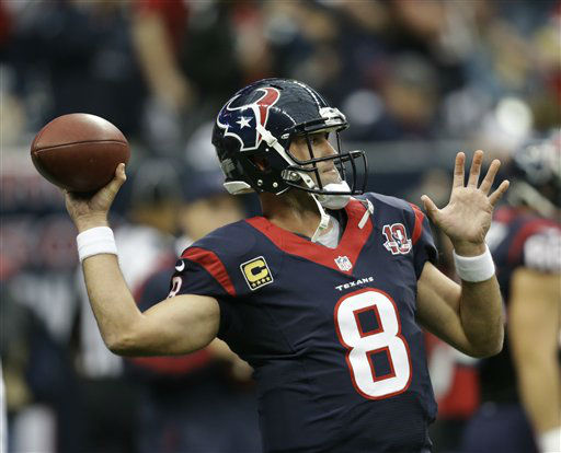 Houston Texans quarterback Matt Schaub &#40;8&#41; warms up before an NFL wild card playoff football game against the Cincinnati Bengals Saturday, Jan. 5, 2013, in Houston. &#40;AP Photo&#47;Eric Gay&#41; <span class=meta>(AP Photo&#47; Eric Gay)</span>