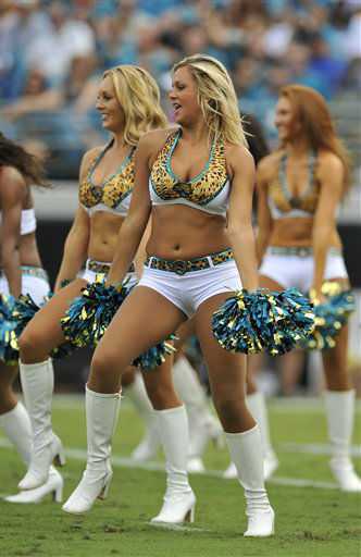 Jacksonville Jaguars cheerleaders perform during the first half an NFL football game against the Houston Texans, Sunday, Sept. 16, 2012, in Jacksonville, Fla. &#40;AP Photo&#47;Stephen Morton&#41; <span class=meta>(AP Photo&#47; Stephen Morton)</span>