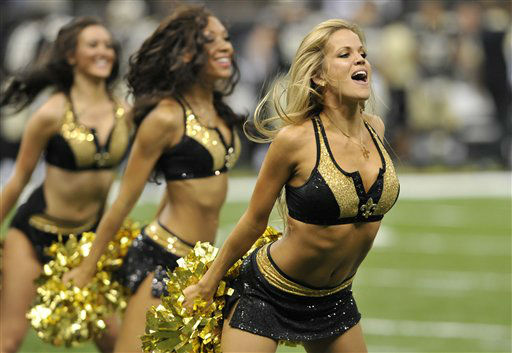 New Orleans Saints cheerleaders perform in the first half of an NFL preseason football game against the Houston Texans in New Orleans, Saturday, Aug. 25, 2012. &#40;AP Photo&#47;Bill Haber&#41; <span class=meta>(AP Photo&#47; Bill Haber)</span>