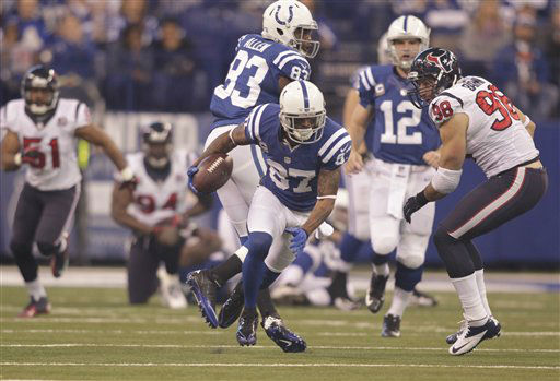 "<div class=""meta ""><span class=""caption-text "">Indianapolis Colts' Reggie Wayne (87) runs during the first half of an NFL football game against the Houston Texans Sunday, Dec. 30, 2012, in Indianapolis. (AP Photo/AJ Mast) (AP Photo/ AJ Mast)</span></div>"