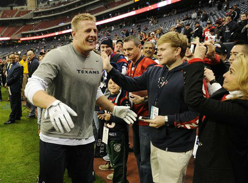 "<div class=""meta image-caption""><div class=""origin-logo origin-image ""><span></span></div><span class=""caption-text"">Houston Texans defensive end J.J. Watt greets spectators as he leaves the field before an NFL wild card playoff football game against the Cincinnati Bengals Saturday, Jan. 5, 2013, in Houston. (AP Photo/Dave Einsel) (AP Photo/ Dave Einsel)</span></div>"
