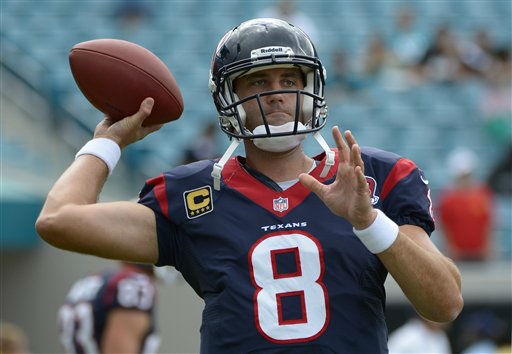 "<div class=""meta ""><span class=""caption-text "">Houston Texans quarterback Matt Schaub (8) throws during warmups prior to an NFL football game against the Jacksonville Jaguars in Jacksonville, Fla., Sunday, Sept. 16, 2012.(AP Photo/Phelan M. Ebenhack) (AP Photo/ Phelan M. Ebenhack)</span></div>"