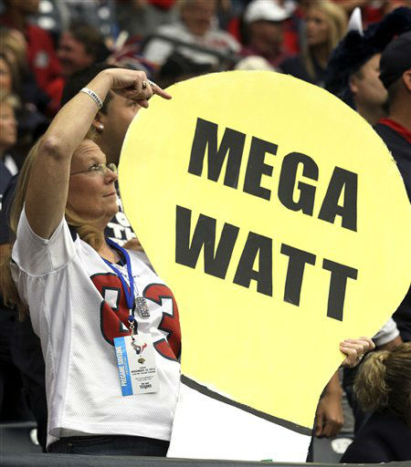"<div class=""meta ""><span class=""caption-text "">A Houston Texans' J.J. Watt fans shows off her sign during the second quarter of an NFL football game against the Jacksonville Jaguars Sunday, Nov. 18, 2012, in Houston.  (AP Photo/ Patric Schneider)</span></div>"