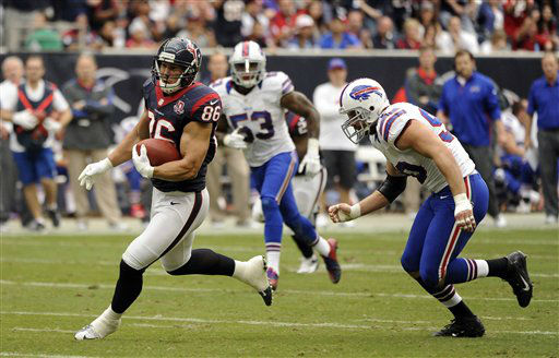 Houston Texans fullback James Casey &#40;86&#41; catches a pass as Buffalo Bills defensive end Chris Kelsay &#40;90&#41; defends in the second quarter of an NFL football game Sunday, Nov. 4, 2012, in Houston. &#40;AP Photo&#47;Dave Einsel&#41; <span class=meta>(AP Photo&#47; Dave Einsel)</span>