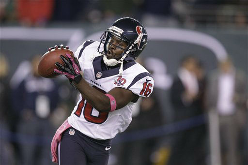 Houston Texans wide receiver Trindon Holliday &#40;16&#41; warms up before an NFL football game against the New York Jets Monday, Oct. 8, 2012, in East Rutherford, N.J. &#40;AP Photo&#47;Kathy Willens&#41; <span class=meta>(AP Photo&#47; Kathy Willens)</span>