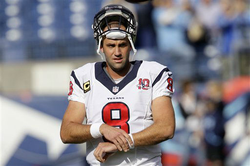 "<div class=""meta ""><span class=""caption-text "">Houston Texans quarterback Matt Schaub warms up before an NFL football game between the Tennessee Titans and the Houston Texans on Sunday, Dec. 2, 2012, in Nashville, Tenn. (AP Photo/Wade Payne) (AP Photo/ Wade Payne)</span></div>"