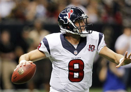 Houston Texans quarterback Matt Schaub &#40;8&#41; scrambles in the first half of an NFL preseason football game against the New Orleans Saints in New Orleans, Saturday, Aug. 25, 2012. &#40;AP Photo&#47;Gerald Herbert&#41; <span class=meta>(AP Photo&#47; Gerald Herbert)</span>