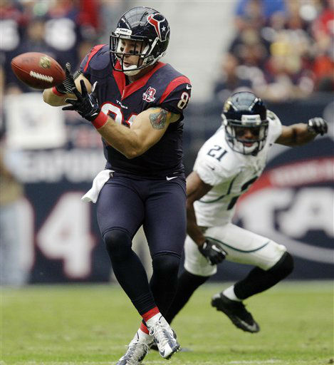Houston Texans&#39; Owen Daniels &#40;81&#41; makes a catch ahead of Jacksonville Jaguars&#39; Derek Cox &#40;21&#41; during the second quarter of an NFL football game, Sunday, Nov. 18, 2012, in Houston.   <span class=meta>(AP Photo&#47; Patric Schneider)</span>