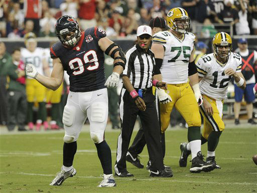 "<div class=""meta ""><span class=""caption-text "">Houston Texans defensive end J.J. Watt (99) celebrates after sacking Green Bay Packers quarterback Aaron Rodgers (12) in the first quarter of an NFL football game Sunday, Oct. 14, 2012 in Houston. (AP Photo/Dave Einsel) (AP Photo/ Dave Einsel)</span></div>"