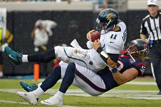 Jacksonville Jaguars quarterback Blaine Gabbert &#40;11&#41; is sacked by Houston Texans outside linebacker Brooks Reed &#40;58&#41; during the first half of an NFL football game, Sunday, Sept. 16, 2012, in Jacksonville, Fla. &#40;AP Photo&#47;Phelan M. Ebenhack&#41; <span class=meta>(AP Photo&#47; Phelan M. Ebenhack)</span>