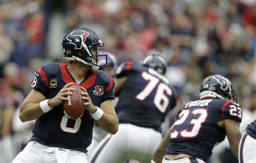 "<div class=""meta ""><span class=""caption-text "">Houston Texans quarterback Matt Schaub (8) drops back to pass during the first quarter of an NFL football game  against the Minnesota Vikings Sunday, Dec. 23, 2012, in Houston. (AP Photo/Patric Schneider) (AP Photo/ Patric Schneider)</span></div>"
