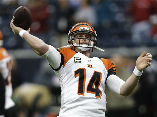 "<div class=""meta image-caption""><div class=""origin-logo origin-image ""><span></span></div><span class=""caption-text"">Cincinnati Bengals quarterback Andy Dalton warms up before an NFL wild card playoff football game against the Houston Texans Saturday, Jan. 5, 2013, in Houston. (AP Photo/Eric Gay) (AP Photo/ Eric Gay)</span></div>"