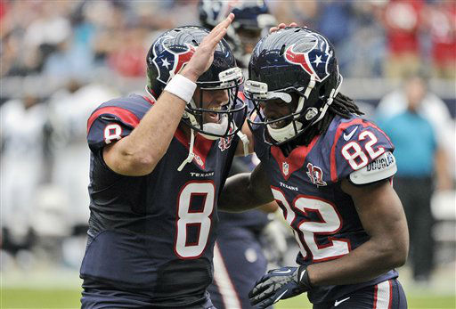 "<div class=""meta image-caption""><div class=""origin-logo origin-image ""><span></span></div><span class=""caption-text"">Houston Texans quarterback Matt Schaub (8) and Keshawn Martin (82) celebrates a touchdown during the first quarter of an NFL football game against the Jacksonville Jaguars Sunday, Nov. 18, 2012, in Houston. (AP Photo/Dave Einsel) (AP Photo/ Dave Einsel)</span></div>"
