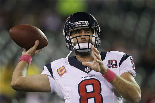 Houston Texans quarterback Matt Schaub &#40;8&#41; warms up before an NFL football game against the New York Jets Monday, Oct. 8, 2012, in East Rutherford, N.J. &#40;AP Photo&#47;Kathy Willens&#41; <span class=meta>(AP Photo&#47; Kathy Willens)</span>