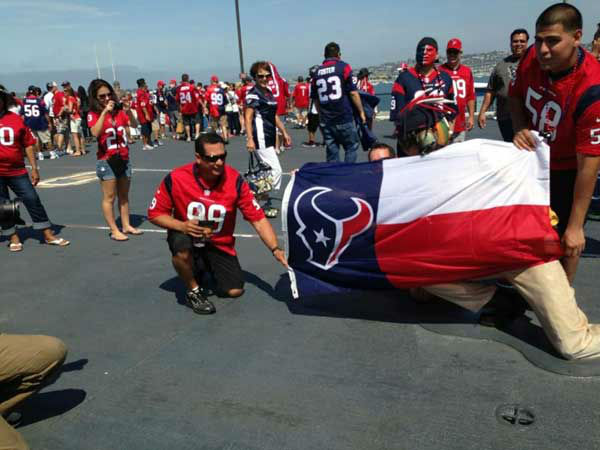 These are photos of Texans fans representing Houston loud and proud in Sand Diego in front of the season opener against the Chargers. If you&#39;re there or know someone there, send photos to us at news@abc13.com <span class=meta>(Photo&#47;iWitness reports)</span>