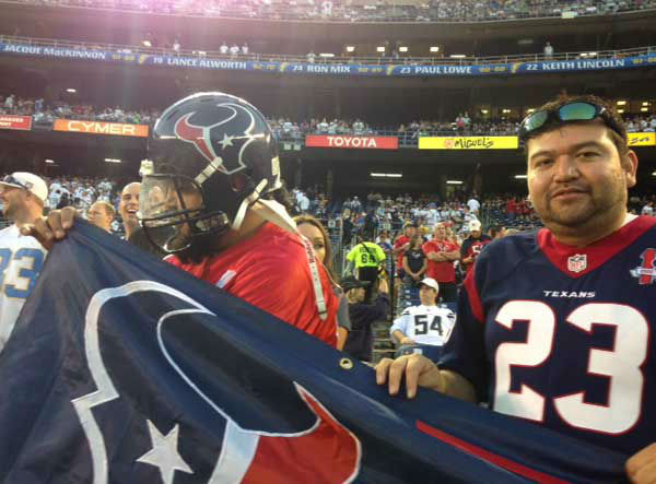 "<div class=""meta image-caption""><div class=""origin-logo origin-image ""><span></span></div><span class=""caption-text"">These are photos of Texans fans who made the trip to San Diego to watch Houston's dramatic win over the Chargers Monday (into Tuesday!) (Photo/ABC13)</span></div>"