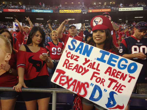 "<div class=""meta ""><span class=""caption-text "">These are photos of Texans fans who made the trip to San Diego to watch Houston's dramatic win over the Chargers Monday (into Tuesday!) (Photo/ABC13)</span></div>"