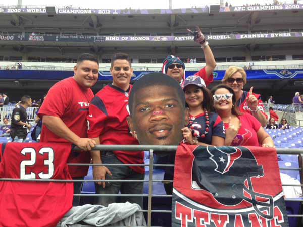 "<div class=""meta ""><span class=""caption-text "">Texans fans showed up in Baltimore to support their team against the Ravens on Sunday, September 22, 2013. (KTRK Photo/ Damion Smith)</span></div>"