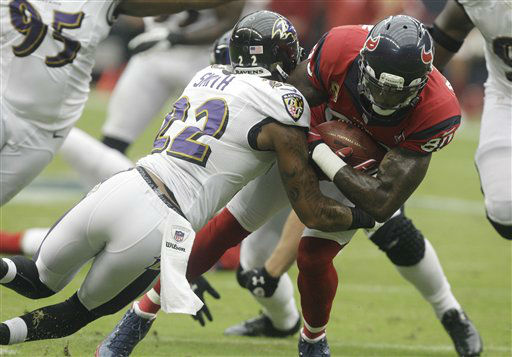 "<div class=""meta ""><span class=""caption-text "">Baltimore Ravens defensive back Jimmy Smith (22) tackles Houston Texans wide receiver Andre Johnson (80) during the first quarter of an NFL football game Sunday, Oct. 21, 2012, in Houston. (AP Photo/Patric Schneider) (AP Photo/ Patric Schneider)</span></div>"