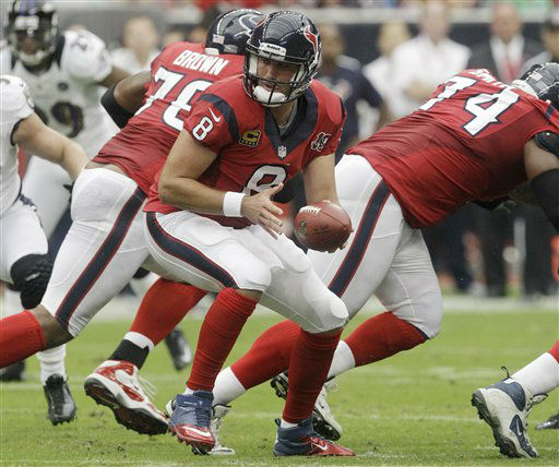 Houston Texans quarterback Matt Schaub &#40;8&#41; drops back against the Baltimore Ravens during the first quarter of an NFL football game Sunday, Oct. 21, 2012, in Houston. &#40;AP Photo&#47;Patric Schneider&#41; <span class=meta>(AP Photo&#47; Patric Schneider)</span>