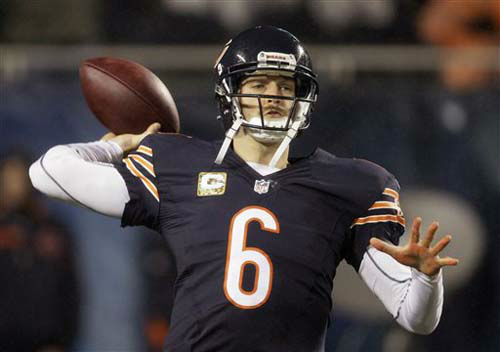 Chicago Bears quarterback Jay Cutler &#40;6&#41; warms up before an NFL football game against the Houston Texans in Chicago, Sunday, Nov. 11, 2012. &#40;AP Photo&#47;Nam Y. Huh&#41; <span class=meta>(Photo&#47;Nam Y. Huh)</span>