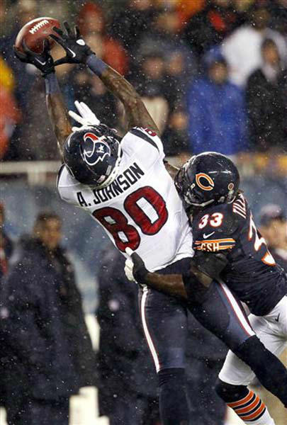 Chicago Bears cornerback Charles Tillman &#40;33&#41; breaks up a pass intended for Houston Texans wide receiver Andre Johnson &#40;80&#41; in the first half an NFL football game, Sunday, Nov. 11, 2012, in Chicago. &#40;AP Photo&#47;Charles Rex Arbogast&#41; <span class=meta>(Photo&#47;Charles Rex Arbogast)</span>