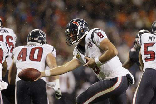 Houston Texans quarterback Matt Schaub &#40;8&#41; hands the ball off in the first half an NFL football game against the Chicago Bears in Chicago, Sunday, Nov. 11, 2012. &#40;AP Photo&#47;Nam Y. Huh&#41; <span class=meta>(Photo&#47;Nam Y. Huh)</span>