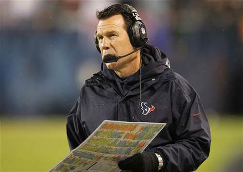 Houston Texans head coach Gary Kubiak watches his team against the Chicago Bears in the first half an NFL football game, Sunday, Nov. 11, 2012, in Chicago. &#40;AP Photo&#47;Charles Rex Arbogast&#41; <span class=meta>(Photo&#47;Charles Rex Arbogast)</span>