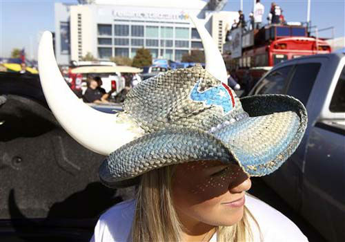 A Houston Texans wears  a horned hat before an NFL football game against the Jacksonville Jaguars Sunday, Nov. 18, 2012, in Houston. &#40;AP Photo&#47;Patric Schneider&#41; <span class=meta>(Photo&#47;Patric Schneider)</span>