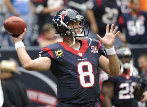 "<div class=""meta ""><span class=""caption-text "">Houston Texans quarterback Matt Schaub before an NFL football game against the Jacksonville Jaguars Sunday, Nov. 18, 2012, in Houston. (AP Photo/Dave Einsel) (Photo/Dave Einsel)</span></div>"