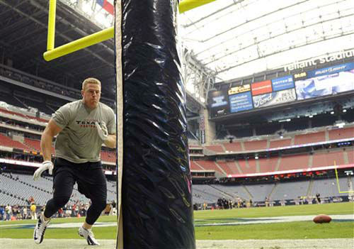 "<div class=""meta ""><span class=""caption-text "">Houston Texans' J.J. Watt warms up before an NFL football game against the Jacksonville Jaguars Sunday, Nov. 18, 2012, in Houston. (AP Photo/Dave Einsel) (Photo/Dave Einsel)</span></div>"