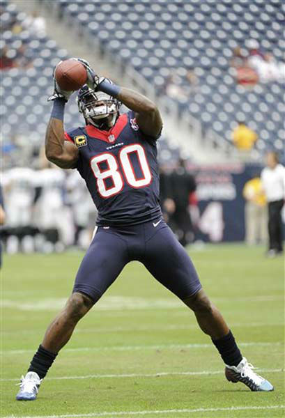 Houston Texans&#39; Andre Johnson warms up before an NFL football game against the Jacksonville Jaguars Sunday, Nov. 18, 2012, in Houston. &#40;AP Photo&#47;Dave Einsel&#41; <span class=meta>(Photo&#47;Dave Einsel)</span>