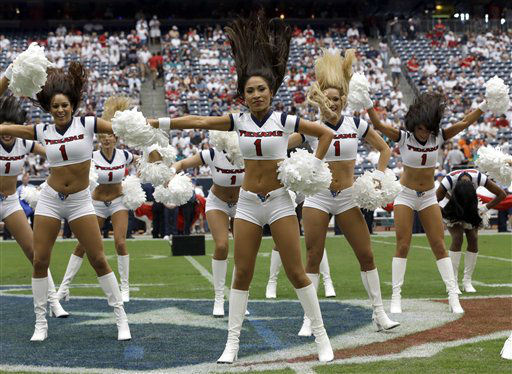 "<div class=""meta ""><span class=""caption-text "">Houston Texans cheerleaders preform before an NFL football game against the Miami Dolphins Sunday, Sept. 9, 2012, in Houston. (AP Photo/David J. Phillip) (AP Photo/ David J. Phillip)</span></div>"