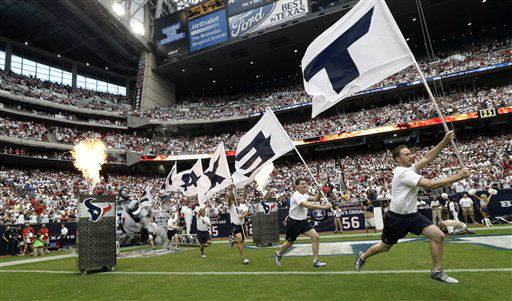 "<div class=""meta ""><span class=""caption-text "">The Houston Texans take the field before an NFL football game against the Miami Dolphins Sunday, Sept. 9, 2012, in Houston. (AP Photo/David J. Phillip) (AP Photo/ David J. Phillip)</span></div>"