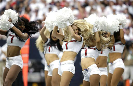 Houston Texans cheerleaders perform in the second quarter of an NFL football game against the Miami Dolphins Sunday, Sept. 9, 2012, in Houston. &#40;AP Photo&#47;Eric Gay&#41; <span class=meta>(AP Photo&#47; Eric Gay)</span>
