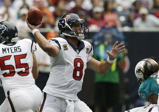 Houston Texans quarterback Matt Schaub throws a pass against the Miami Dolphins in the first quarter of an NFL football game on Sunday, Sept. 9, 2012, in Houston. &#40;AP Photo&#47;David J. Phillip&#41; <span class=meta>(AP Photo&#47; David J. Phillip)</span>
