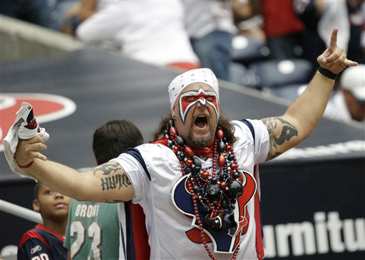 "<div class=""meta ""><span class=""caption-text "">A Houston Texans fan screams in the first quarter of an NFL football game against the Miami Dolphins Sunday, Sept. 9, 2012, in Houston. (AP Photo/Eric Gay) (AP Photo/ Eric Gay)</span></div>"