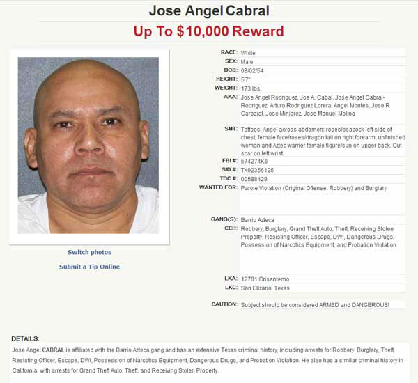 Know this fugitive?  Call 1-800-252-TIPS &#40;8477&#41; <span class=meta>(Texas Department of Public Safety)</span>