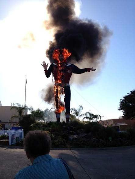 These are photos of Big Tex burning on the grounds of the Texas State Fair.  If you have photos or videos, email them to us at news@abc13.com.