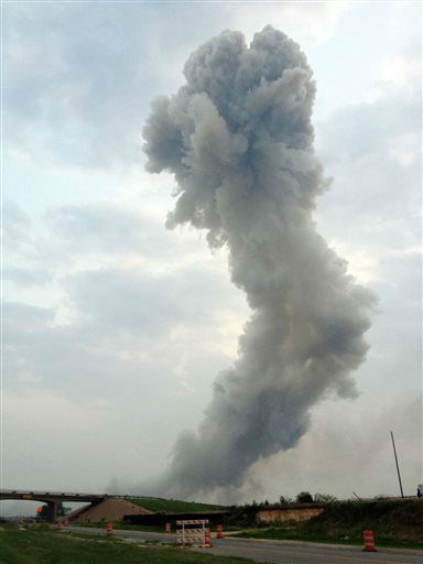 In this Wednesday, April 17, 2013, photo provided by Joe Berti, a plume of smoke rises from a fertilizer plant fire near Waco, Texas.  A massive explosion at the West Fertilizer Co. killed as many as 15 people and injured more than 160, officials said Thursday morning.  <span class=meta>(AP Photo&#47; Uncredited)</span>