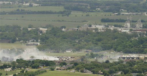 "<div class=""meta image-caption""><div class=""origin-logo origin-image ""><span></span></div><span class=""caption-text"">This aerial photo shows the remains of a fertilizer plant destroyed by an explosion in West, Texas, is shown Thursday, April 18, 2013.  A massive explosion at the West Fertilizer Co. killed as many as 15 people and injured more than 160, officials said overnight.  The explosion that struck around 8 p.m. Wednesday, sent flames shooting into the night sky and rained burning embers and debris down on shocked and frightened residents.   (AP Photo/ Tony Gutierrez)</span></div>"