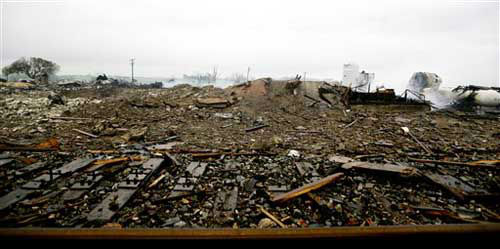 Shown are the remains of a fertilizer plant destroyed by an explosion in West, Texas, Thursday, April 18, 2013.  A massive explosion at the West Fertilizer Co. killed as many as 15 people and injured more than 160, officials said overnight.   <span class=meta>(Photo&#47;LM Otero)</span>