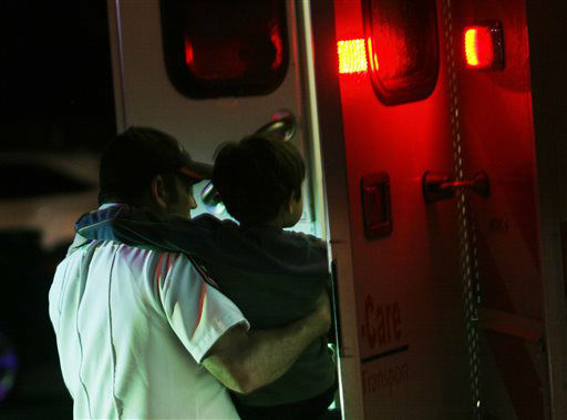 "<div class=""meta image-caption""><div class=""origin-logo origin-image ""><span></span></div><span class=""caption-text"">A young injured boy is put on an ambulance in Granbury, Texas, on Wednesday May 15, 2013.  A rash of tornadoes slammed into several small communities in North Texas overnight, leaving at least six people dead, dozens more injured and hundreds homeless. The violent spring storm scattered bodies, flattened homes and threw trailers onto cars.   (AP Photo/ Mike Fuentes)</span></div>"