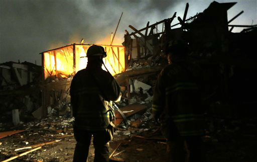 Firefighters use flashlights to search a destroyed apartment complex near a fertilizer plant that exploded earlier in West, Texas, in this photo made early Thursday morning, April 18, 2013.    <span class=meta>(AP Photo&#47; LM Otero)</span>